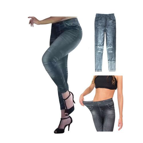calza jeans mujer frizada localizada estampada legeans promo