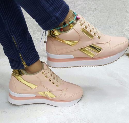 calzado bota botín corte bajo  palo rosa dorado moda mujeres