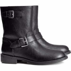 calzado botas de cuero modelo motociclista para damas h & m