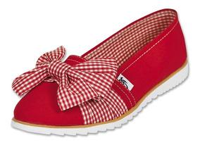 Calzado Dama Mujer Zapato Casual Flat Textil En Rojo Comodo