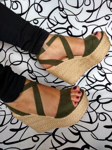 calzado de plataforma alta colores unicos verde envío gratis