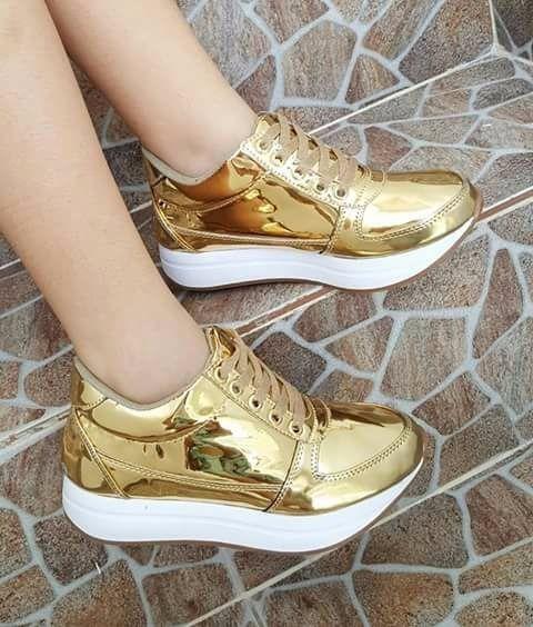 73bb731f Calzado Dorado Moda 2017 Dama Mujer Tenis Zapato Deportivo ...
