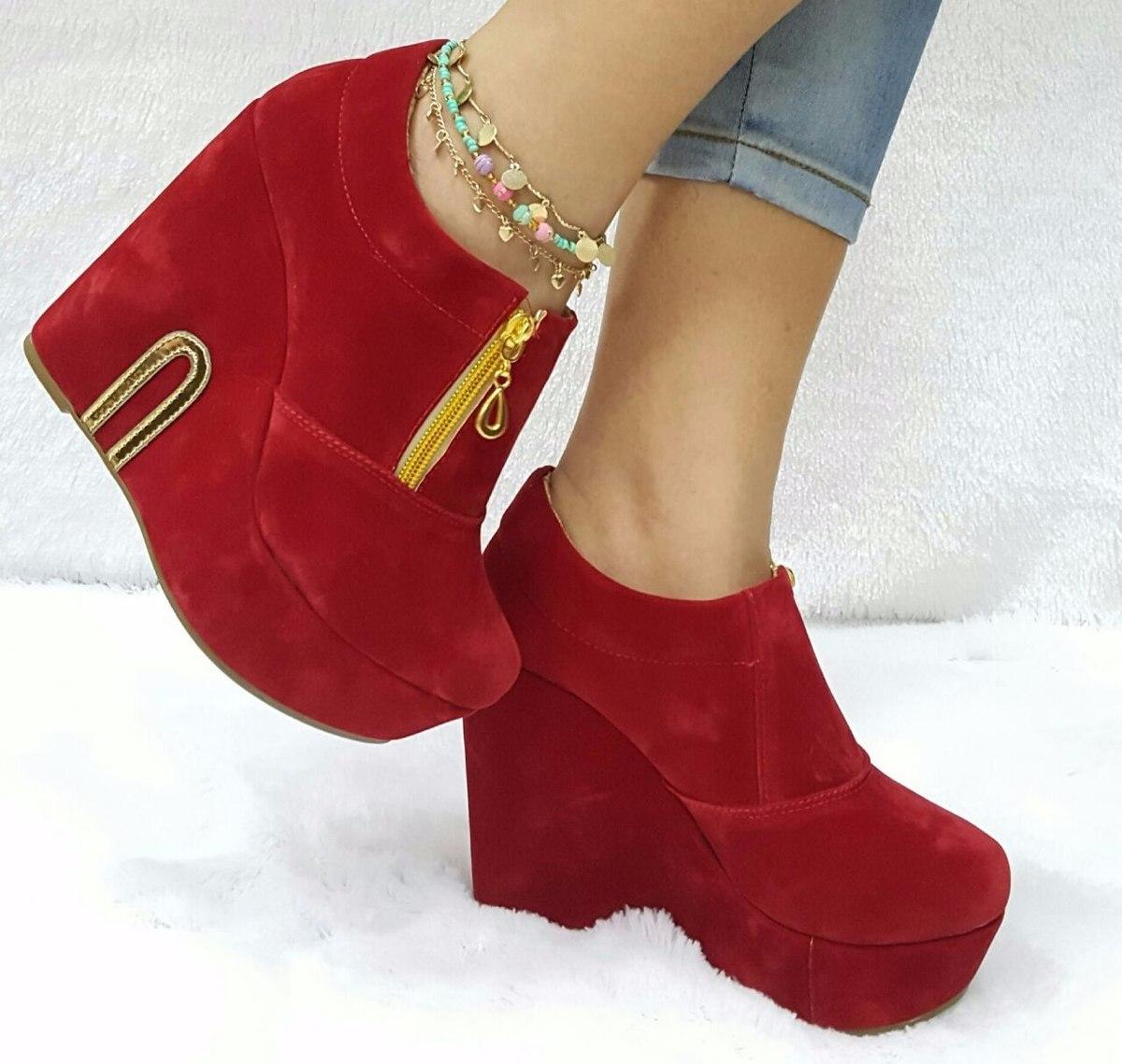 calzado elegante para dama mujer plataforma tacón rojo oro. Cargando zoom. a9cd451e688e