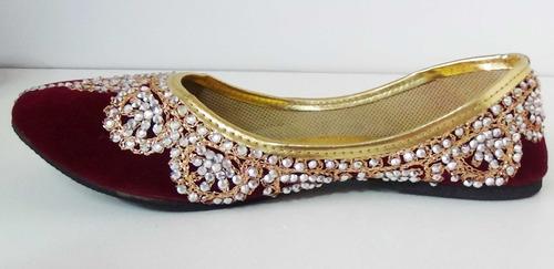 calzado hindú balerina bordada y brillos - chatitas india