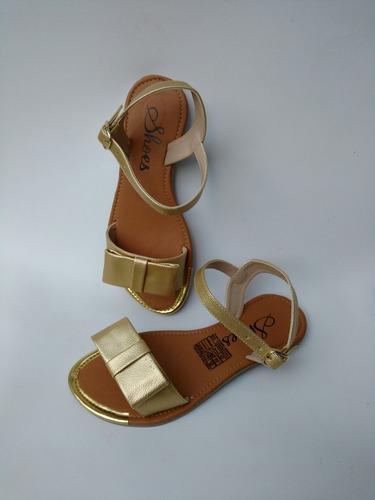 calzado infantil de moda en colombia sandalia dorada niña