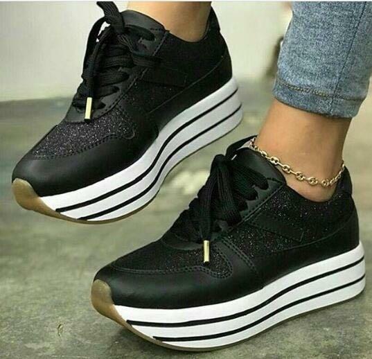 51a056cb7f8 Calzado Moda Tenis Negro Para Dama Zapatos Moda Para Mujer ...
