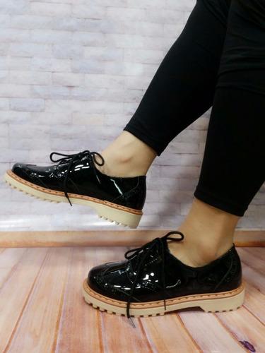 calzado mujer oxford charol negro zapato colombiano de moda