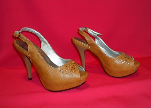 calzado mujer plataform sandalia boca pescado camel talla 35