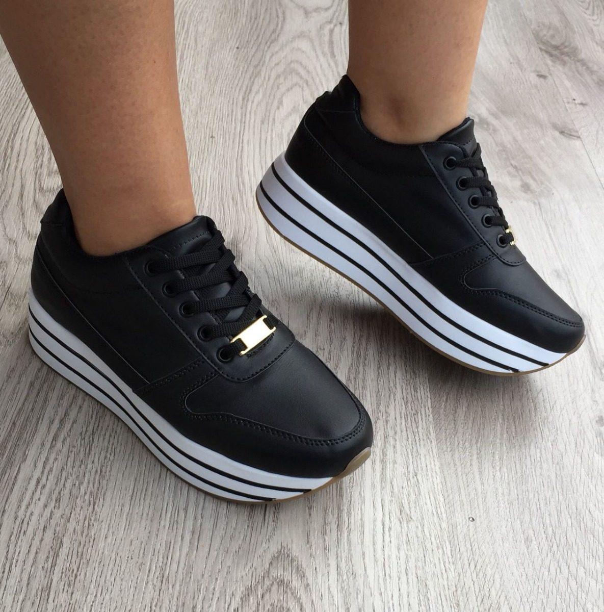 nuevo concepto 82bbb 5ae5a Calzado Para Mujer Tenis Negro Zapatos A La Moda Femenina