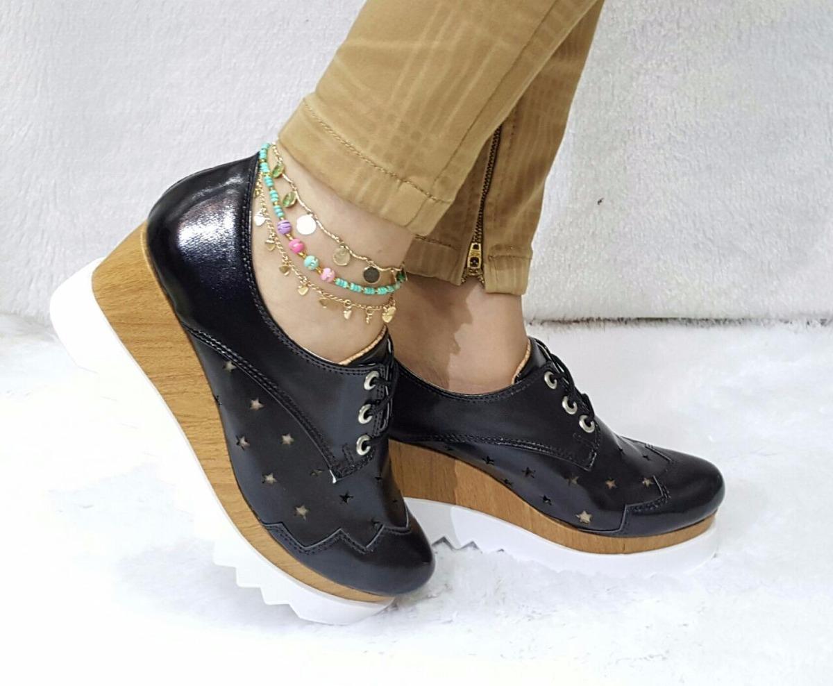 Dama Negro Charol De Oxford Moda Mujer Calzado Plataforma VMpLSGjqUz