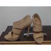 Sandalias Mujer Nude Taco 12 Talla 37