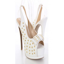 Zapatos Taco Pump Plataforma Tachas Blanco 6.5 36.5 37 Stock