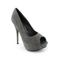 Modernos Zapatos Taco Plataforma Gris Plomo 5.5 36 Stock