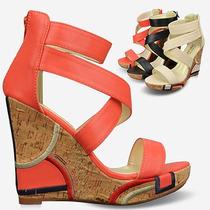Mujer Madre Regalo Moda 2014 Zapatos Sandalias Naranja 39
