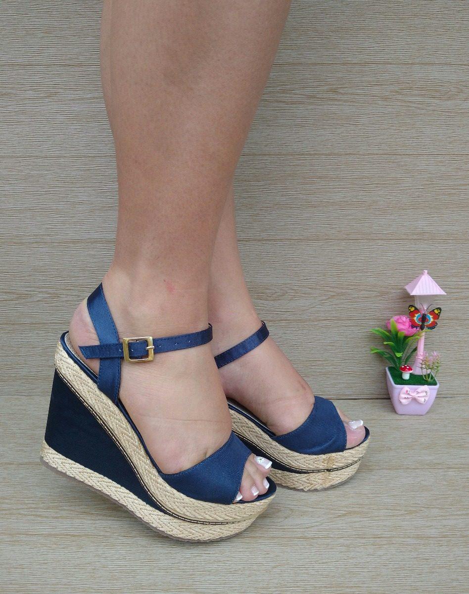 6020e1aa176 calzado sandalia alta seda azul con yute moda para mujeres. Cargando zoom.