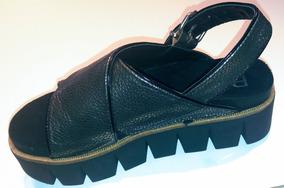 Cruzada Cuero Calzado Y Negro De Plata Sandalia Qtshrd