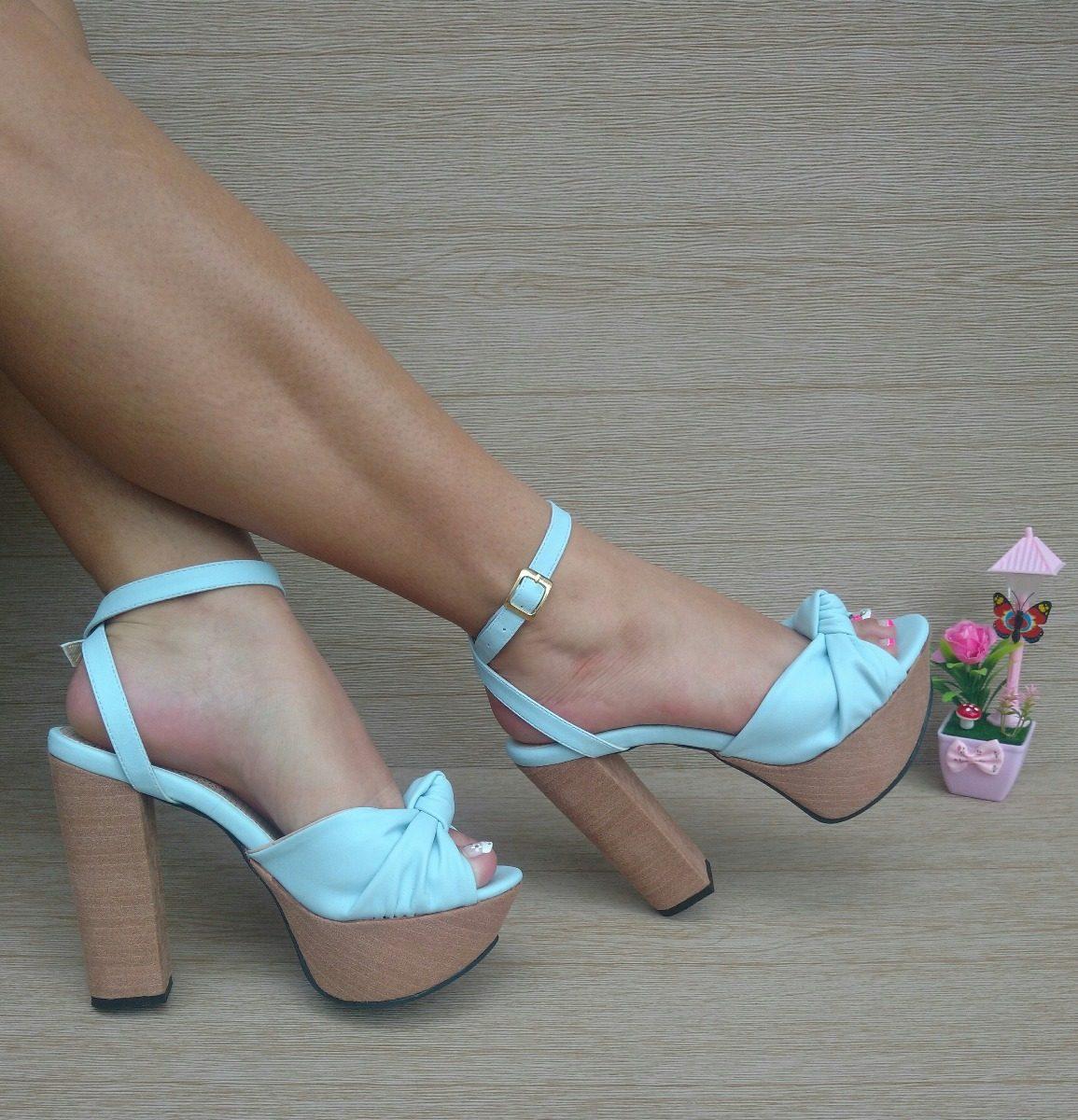 Calzado Alto De Azul Moda Elegancia Moño Tacon Color Mujeres nO0wPk