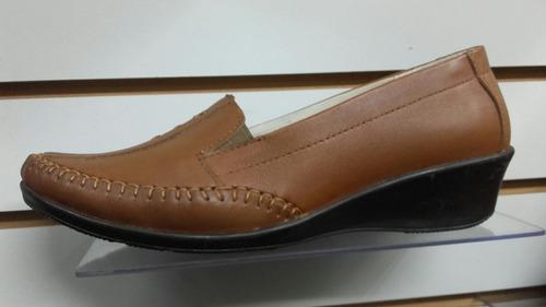 calzado zapato mocasin de cuero piel guante genuino de mujer