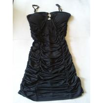 Vestido Negro De Fiesta, Arrugado Elasticado Talla M. Nuevo