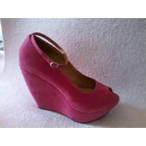 Zapato Wedge Fucxia Taco Chino Numero 39 Modelo Pulsera
