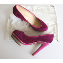 Zapatos Taco Alto Terciopelo Cuero Charlotte Olympia Eu 39.5