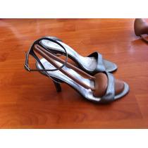 Sandalias De Fiesta Plateadas De Cuero Nuevas!! 38