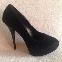 Bello Zapato Piel Plataforma Negro N 38 ...exclusivo !!