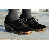 Zapato Oxford Mujer Terciopelo Negro Tortoise 36 Y 38