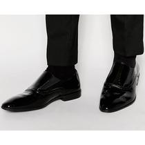 Zapato Mocasin Cuero Charol Negro Nuevo 43