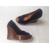 Zapato Wedge Negro Plataforma Cafe Numero 36/37 . Nuevos