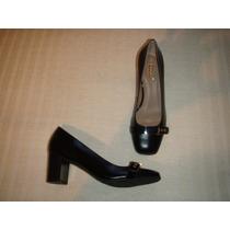Zapatos Gacel De Cuero Y Taco Medio, Color Negro N º 36.