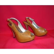 Zapato Mujer Plataforma Sandalia Boca Pescado Camel Talla 35