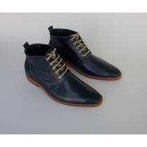 Botines Modelo Vintage Liso, 100% Cuero, Azul 42