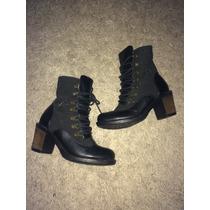 Bellos Botines Botas Police Zapato Top Negro
