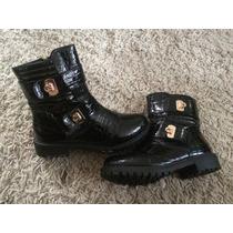 Bellos Botines Botas Zapatos Tipo Charol Negras Top
