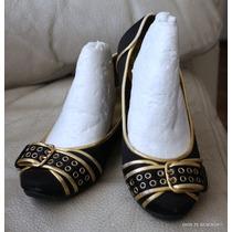 Nine West Zapatos Chinitas Raso Con Dorado 35