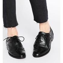 Hermosos Zapatos Brogues Mujer Negro Cuero Genuino Nuevo T38