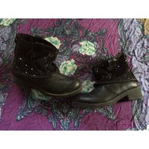 Bellos Botines Negros Con Brillos Botas Zapatos Calzado Top