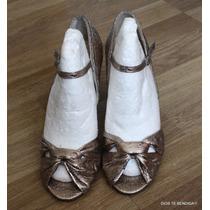 Zapatos Dorados Fiesta Retro Con Correa