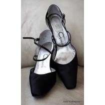 Gacel Zapatos De Noche De Raso Negro A36