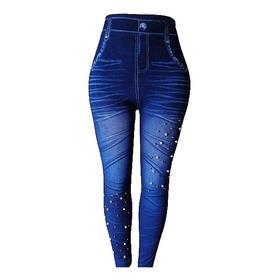 Calzas Mujer Simil Jeans Leggins No Forrada Elasticadas
