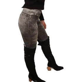 Calzas Simil Jeans  Gaspeado Negro Push Up, Modeladoras!!