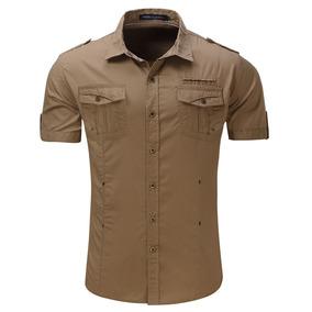 57aad29527ad3 Hombres Moda Casual Camisa Delgado Estilo Militar Camisa Alg