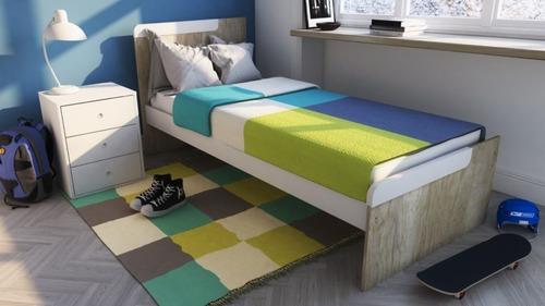 cama 1 plaza 80 cm melamina simple economica  1701 tex+