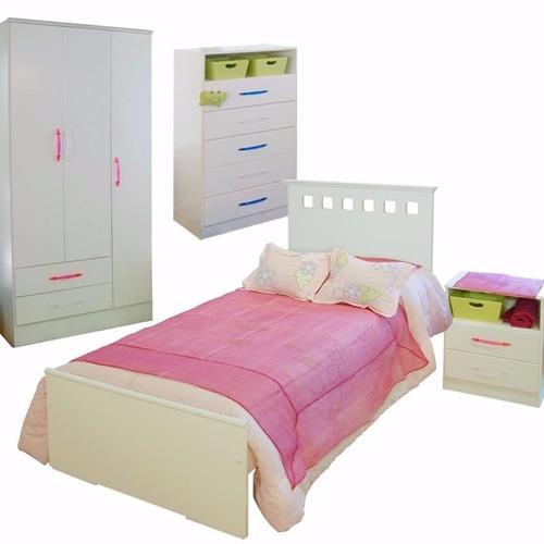 cama 1 plaza + chifonier + mesa de luz + placard 3 puertas