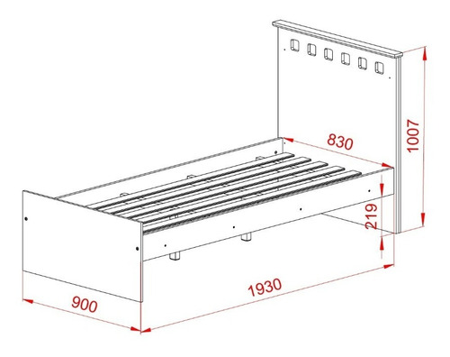 cama 1 plaza + comoda chifonier + mesa de luz + placard