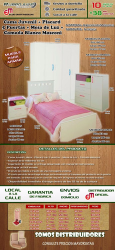 cama 1 plaza + comoda + mesa de luz + placard 5 puertas