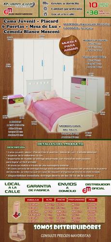 cama 1 plaza + comoda + mesa de luz + placard 6 puertas