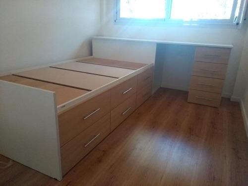 cama  1 plaza con escritorio cajonera dormitorio