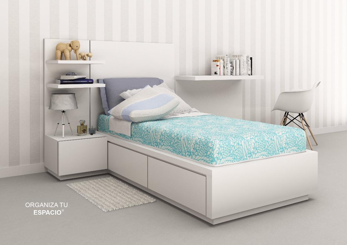 Cama 1 Plaza Dormitorio Respaldo Escritorio Ote Muebles - $ 9.500,00 ...